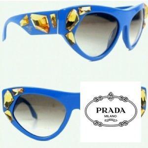 Prada Swarovski Crystal Sunglasses Blue Gold